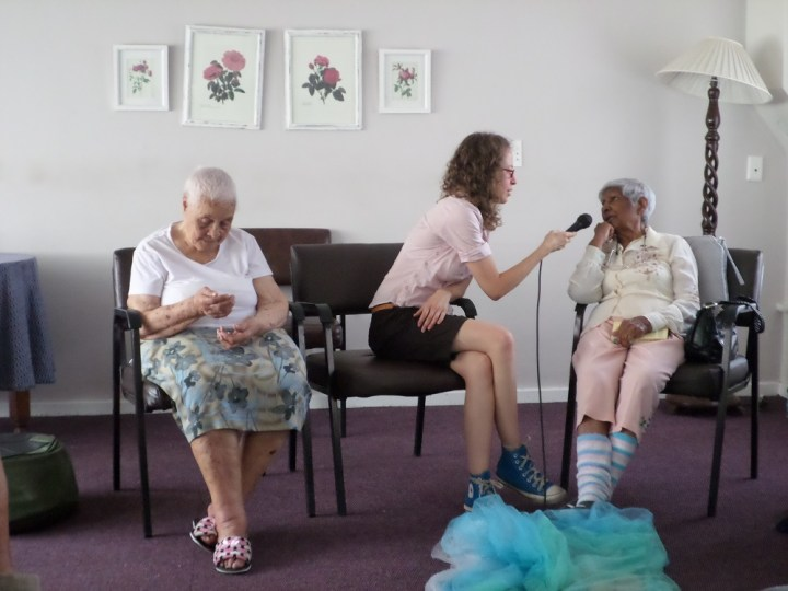 Director Alex Halligey interviews some of the residents of Gerald Fitzpatrick House in preparation for Izithombe 2094. Photo: Baeletsi Tsatsi