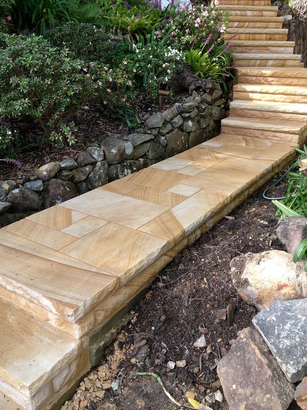Gang sawn sandstone paving and stairway