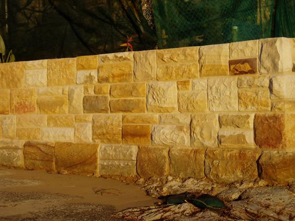Restored Split Coursed Sandstone Seawall