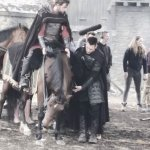 Jonathan Rhys Meyers on set of Vikings