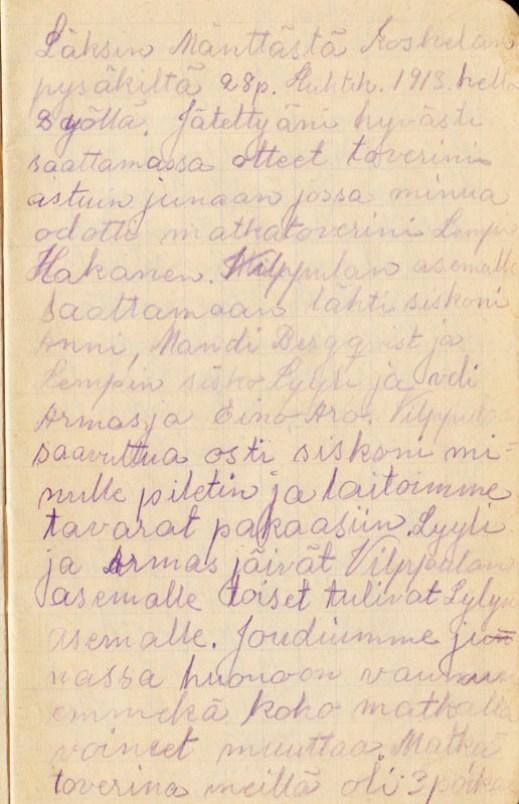 The travel journal of Hilda Koskinen.