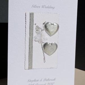 Hearts & Flowers Silver Wedding Anniversary (25) - Ref P103b
