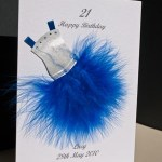 Flouncy feathers - blue - 18th/21st Birthday Card Angle - Ref P107b