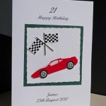 Sports Car and Flag - 21st Birthday Card Angle - Ref P147