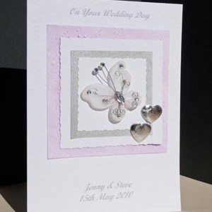 Beautiful Butterfly Wedding Card Angle - Ref P157