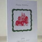 Vintage Tractor in Red - Men's Birthday Card Angle - Ref P186