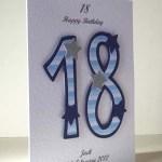 Blue Striped 18 - 18th Birthday Card Angle – Ref P196