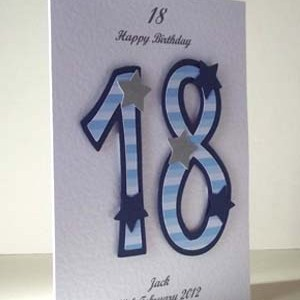 Blue Striped 18 - 18th Birthday Card Angle – Ref P196
