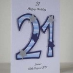 Blue Striped 21 - 21st Birthday Card Angle – Ref P197