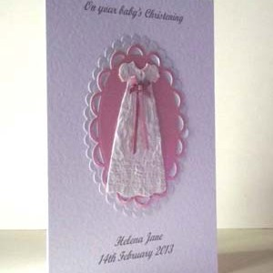 Pink Ribbon Christening Card Angle - Ref P201
