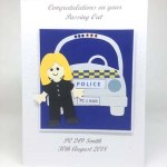 Police Woman Passing Out Special Occasion Card Front - P222