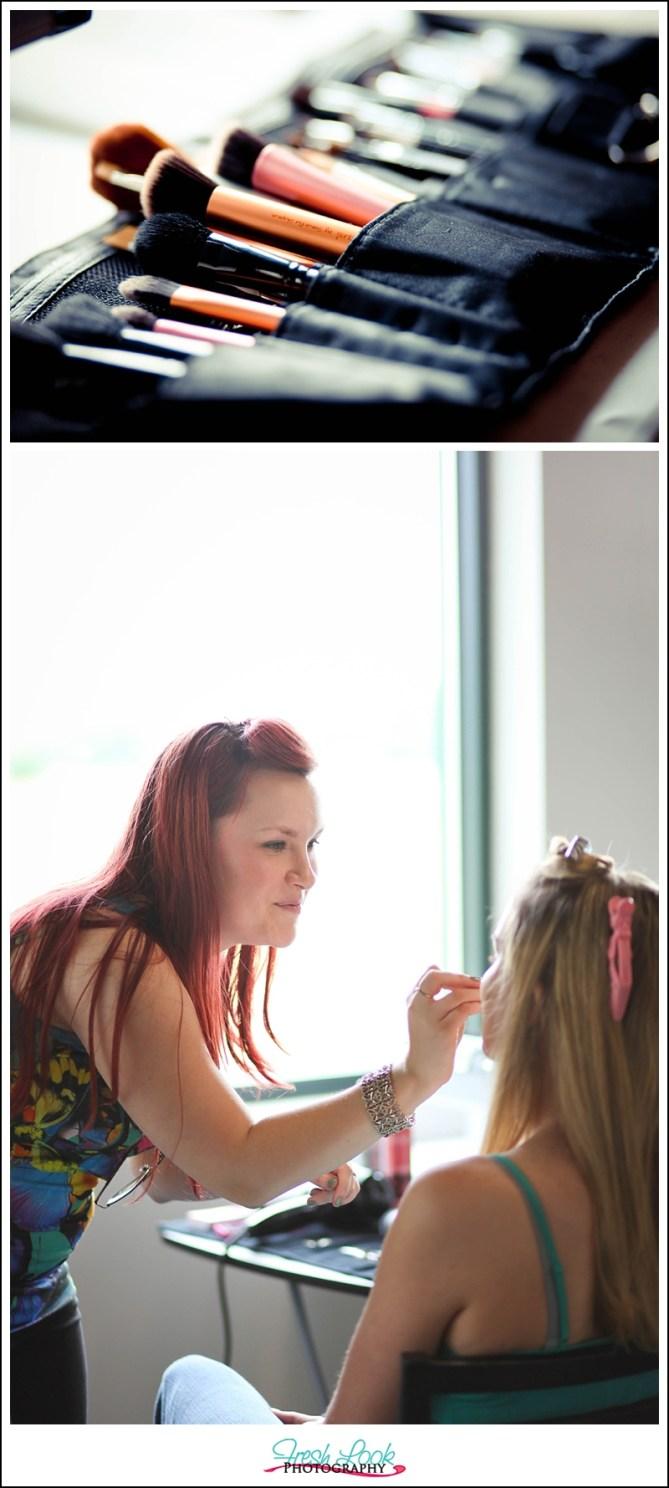 hair and makeup application