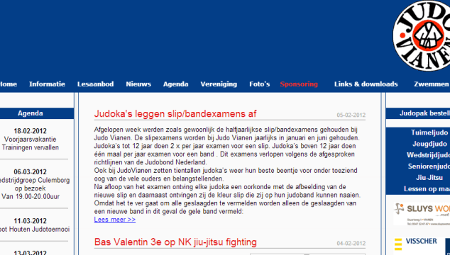 Nieuwe JudoVianen.nl website - Oude website