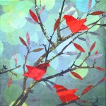 """Red Birds PerchingSOLDPaper Collage on Canvas12"""" x 12"""""""