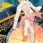 "Tightrope Walker    SOLDPaper Collage on Canvas24""x 34"""