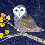 """Barn Owl at NightSOLDPaper Collage on Canvas20"""" x 20"""""""