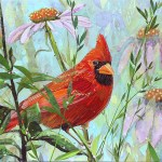"""Cardinal Perched - Mayo ClinicCOMMISSIONPaper Collage on Wood Panel30""""x 30"""""""