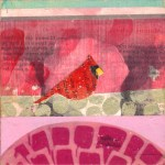 """CardinalSOLDPaper Collage and Acrylic Tranfer on Panel4"""" x 4"""""""