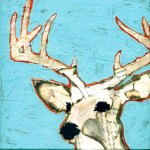 "Deer    SOLDPaper Collage on Canvas10""x 10"""