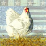 """Patriotic HenSOLDPaper Collage on Canvas8"""" x 9"""""""