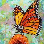 "Monarch on Echinacea - Mayo Clinic    COMMISSIONPaper Collage on Wood Panel30""x 30"""