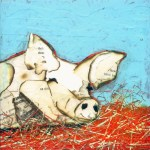 "Pig    SOLDPaper Collage on Canvas10""x 10"""