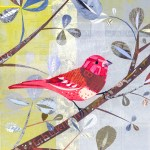"""Spring BirdSOLDPaper Collage on Canvas11"""" x 14"""""""