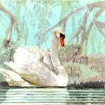 """The Swan PrinceSOLDPaper Collage on Wood13"""" x 14"""""""