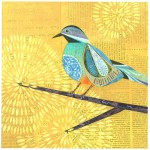 Sunny Perch      SOLD            Cut Paper on Wood Panel       10″ x 10″
