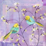 Tit Chat      SOLD            Cut Paper on Wood Panel       12″ x 12″
