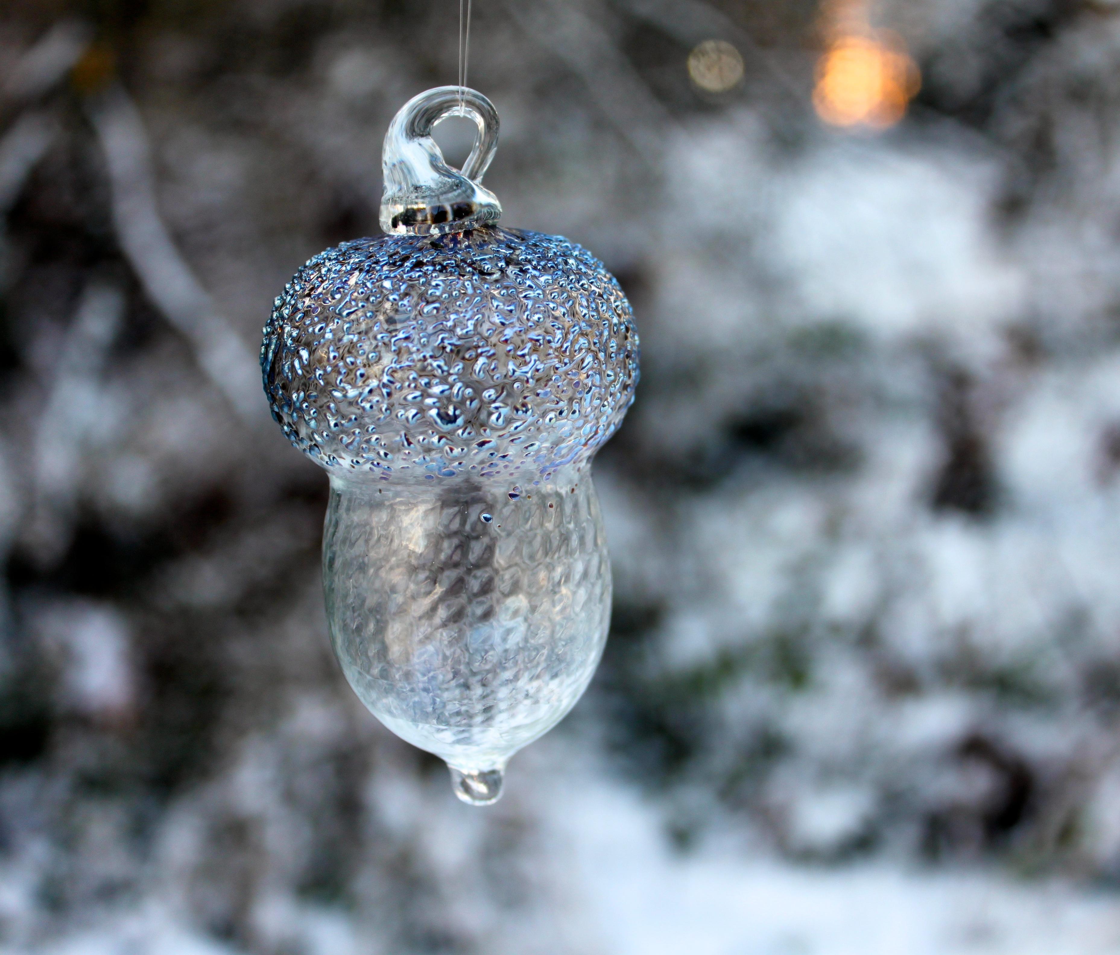Clear Glass Acorn Ornament
