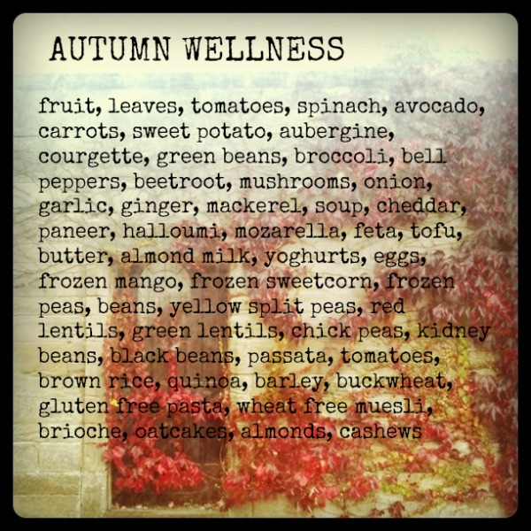 Autumn menu and shopping list for wellness