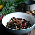 Opskrift med bladbeder, figner og pinjekerner