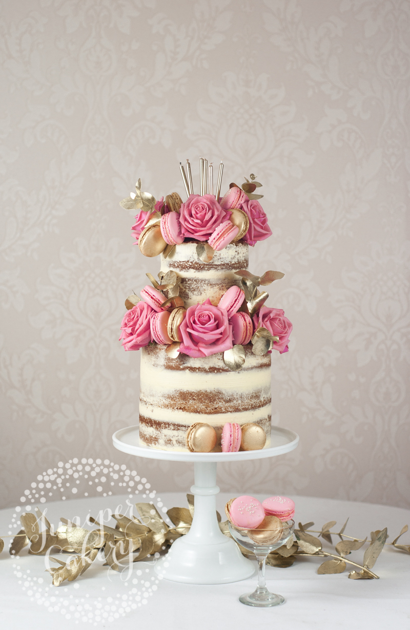 Two-Tier Naked Cake with Pink Macarons