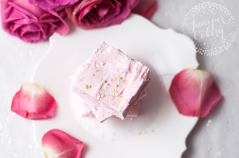 Fluffy pink champagne marshmallows by Juniper Cakery