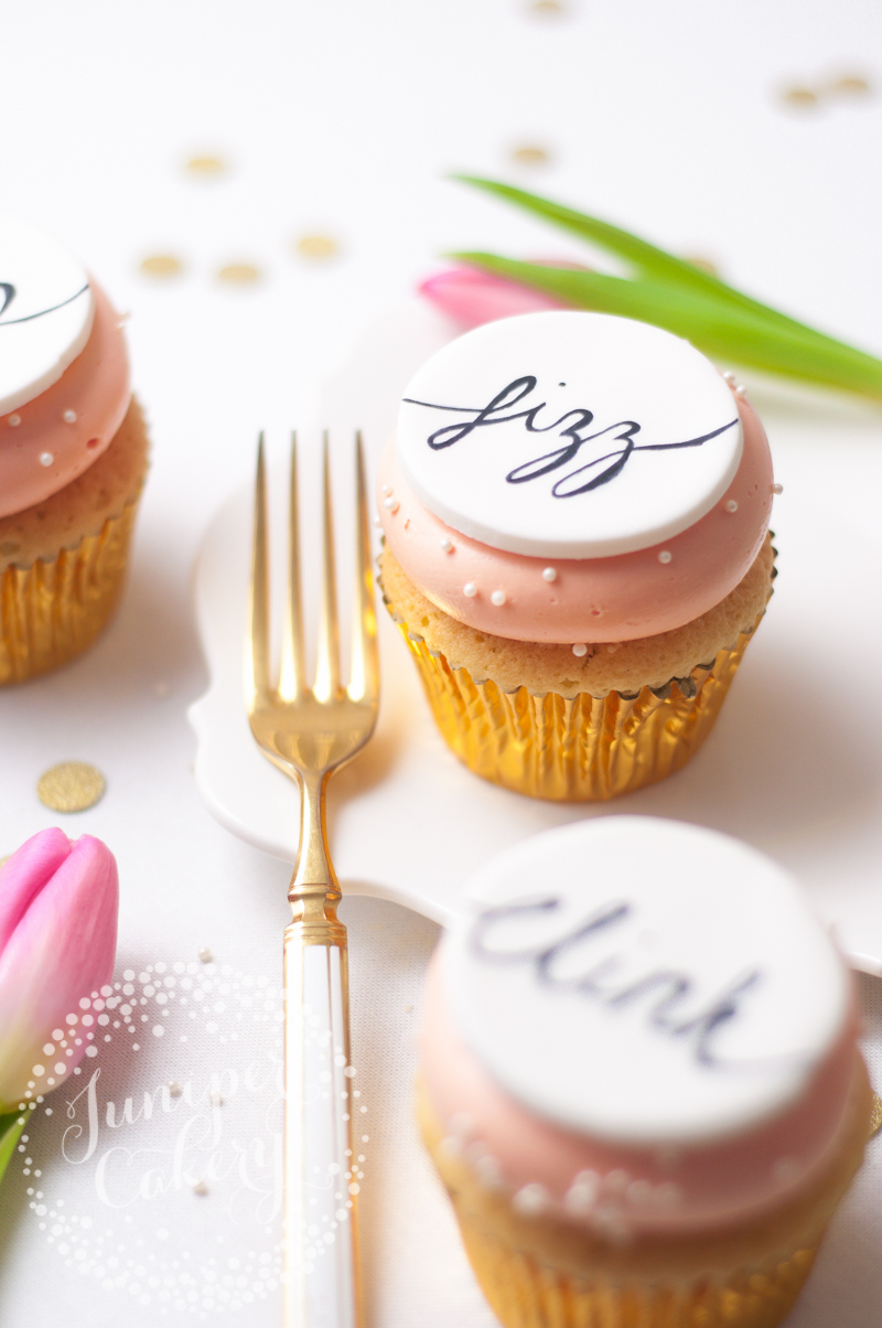 Tips and tricks for painting calligraphy onto cake by Juniper Cakery