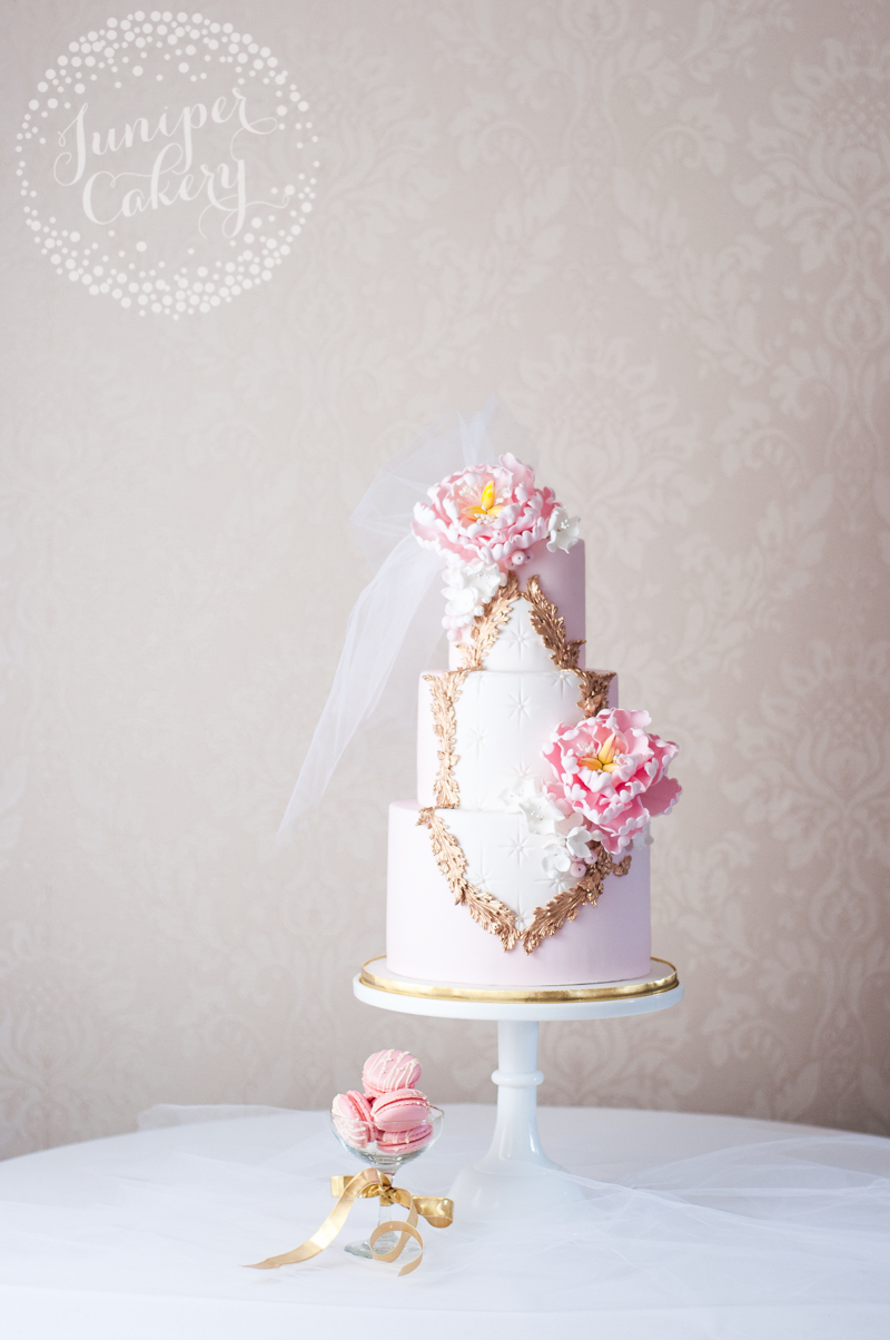 Pink peony Rococo wedding cake by Juniper Cakery