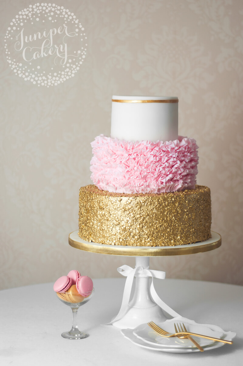 Fabulous pink and gold wedding cake by Juniper Cakery
