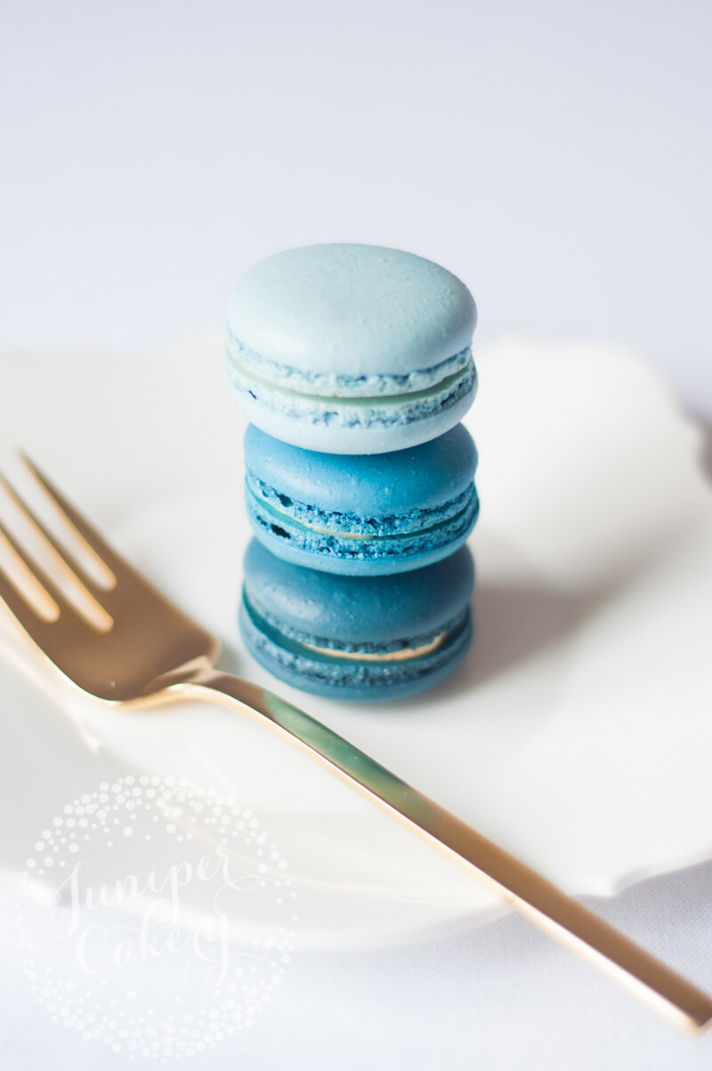 Blue ombre macarons by Juniper Cakery