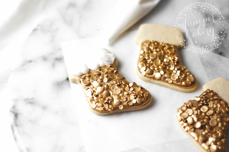 Gold Christmas stocking cookie tutorial