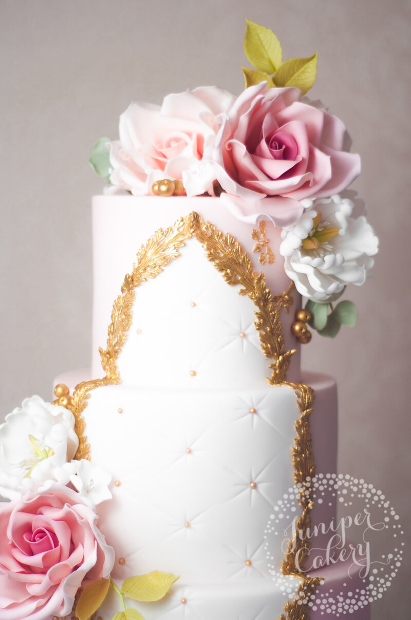 Blush pink Rococo Wedding Cake by Juniper Cakery