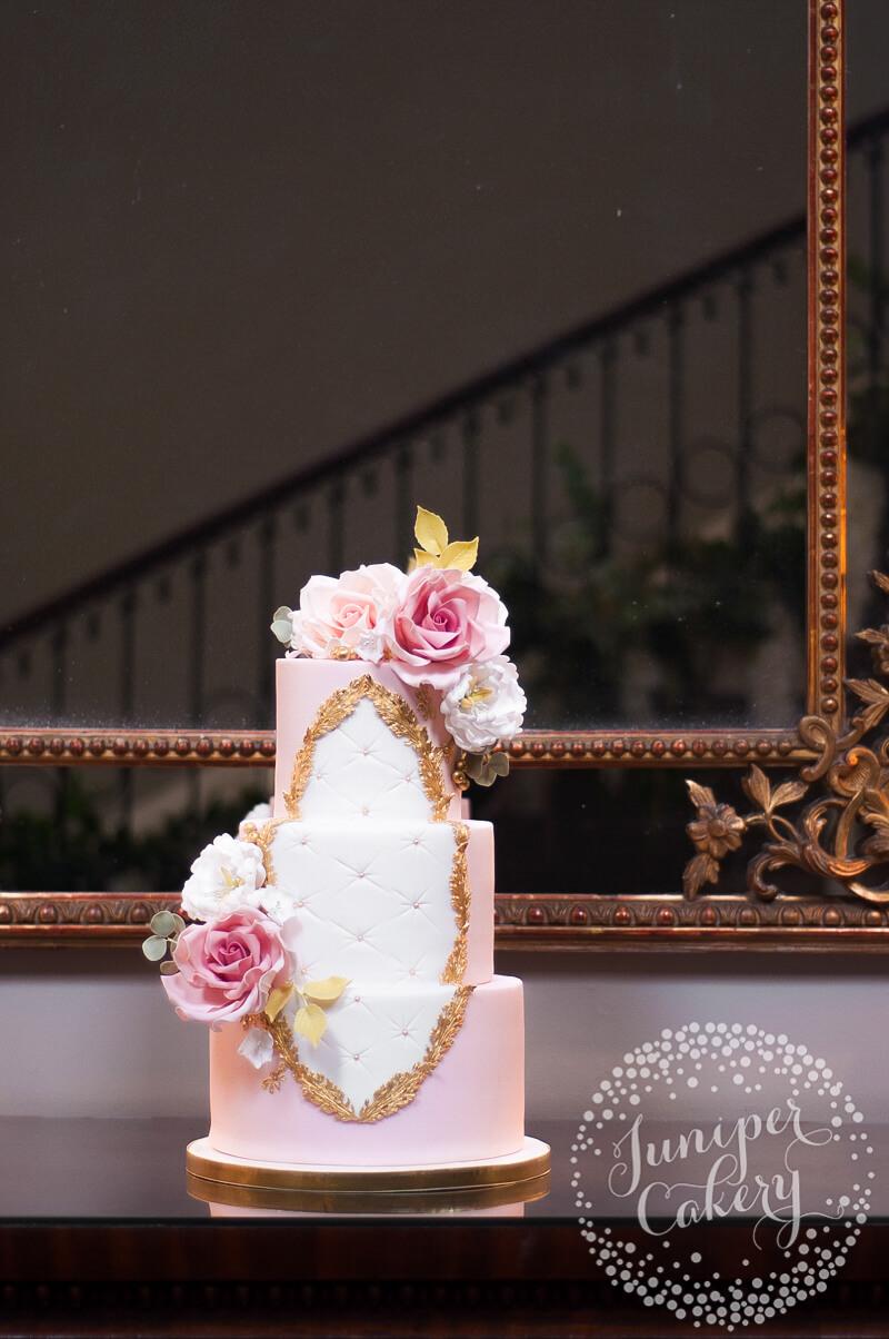 Pink Rococo Wedding Cake by Juniper Cakery