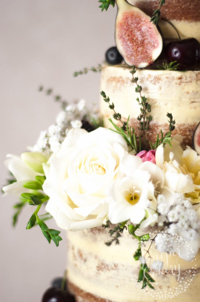 Stunning semi-naked wedding cake by Juniper Cakery
