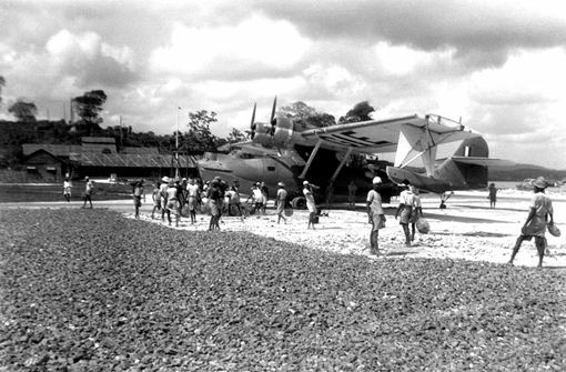 In Koggala, an airstrip is being built for No 413 Squadron's Catalinas, February 10th, 1943. Coolies quarried, crushed and carried all the stone required without any mechanical help.