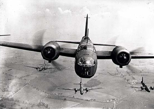 RAF Vickers Wellington medium bombers flying in formation, circa 1940.