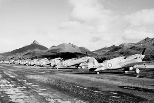111 (Fighter) Squadron's Kittyhawks at Kodiak, Alaska.