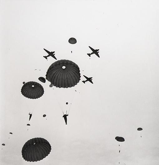 Mass drop of the 1st Battalion from Douglas Dakota aircrafts, Salisbury Plain, England, February 6th, 1944.