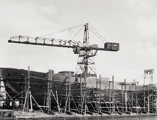Building corvettes at the Kingston Shipbuilding Co. in Kingston, Ontario, August 1943.