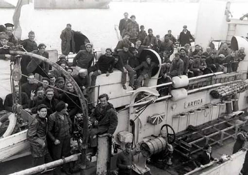 Survivors of torpedoed merchant ship aboard HMCS Arvida, 15 September 1942.
