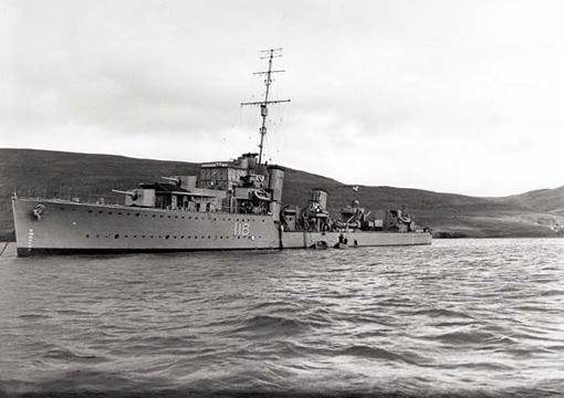 """Completed in 1932, River class destroyer HMCS Assiniboine first served with the Royal Navy as HMS Kempenfelt. She was transferred to the Royal Canadian Navy on October 19, 1939 and participated in numerous escort missions. """"Bones"""" was briefly used as troop transport to repatriate Canadian soldiers in June 1945. She was decommissioned August 8, 1945."""